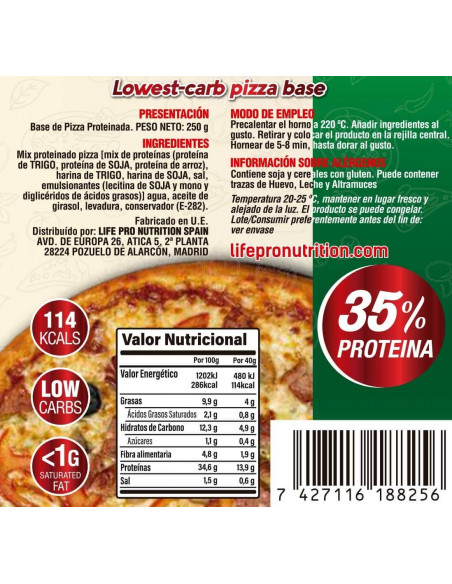 LIFE PRO FIT FOOD BASE PIZZA PROTEICA 250G